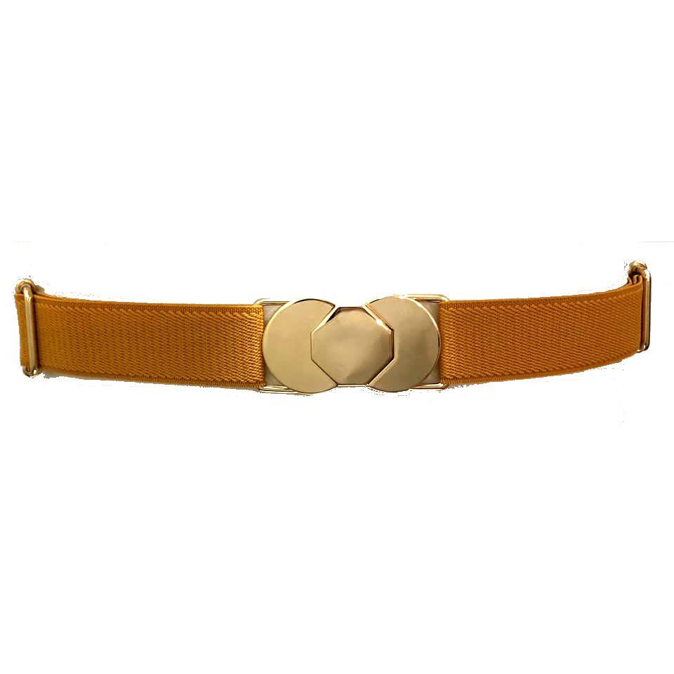 Cinto de Elástico Ajustável Amarelo com Regulagem e Fivela  Ouro - Cintos Exclusivos - Feminino