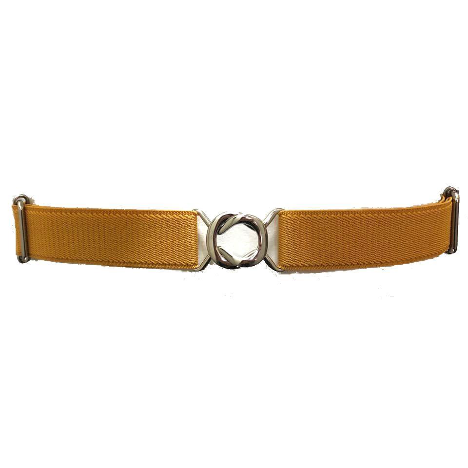 Cinto de Elástico Ajustável Amarelo com Regulagem e Fivela Prata  - Cintos Exclusivos - Feminino
