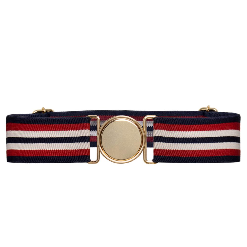 Cinto de Elástico Ajustável Listra Azul e Vermelho com Regulagem e Fivela Dourada    - Cintos Exclusivos - Feminino