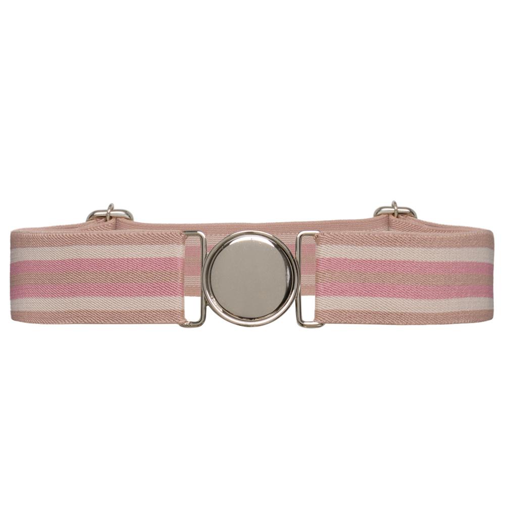 Cinto de Elástico Ajustável Listra Rosa  com Regulagem e Fivela Prata   - Cintos Exclusivos - Feminino