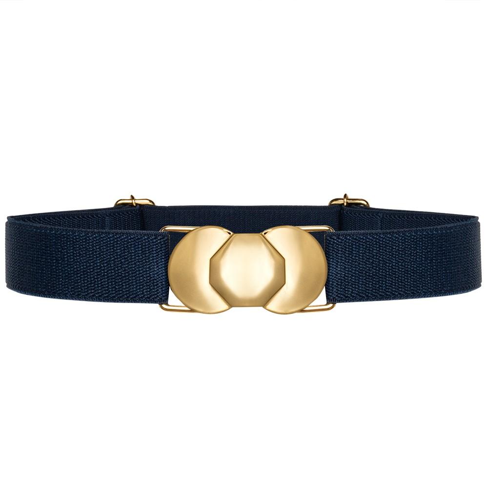 Cinto de Elástico Ajustável Fino Azul Marinho  com Regulagem e Fivela  Ouro - Cintos Exclusivos - Feminino