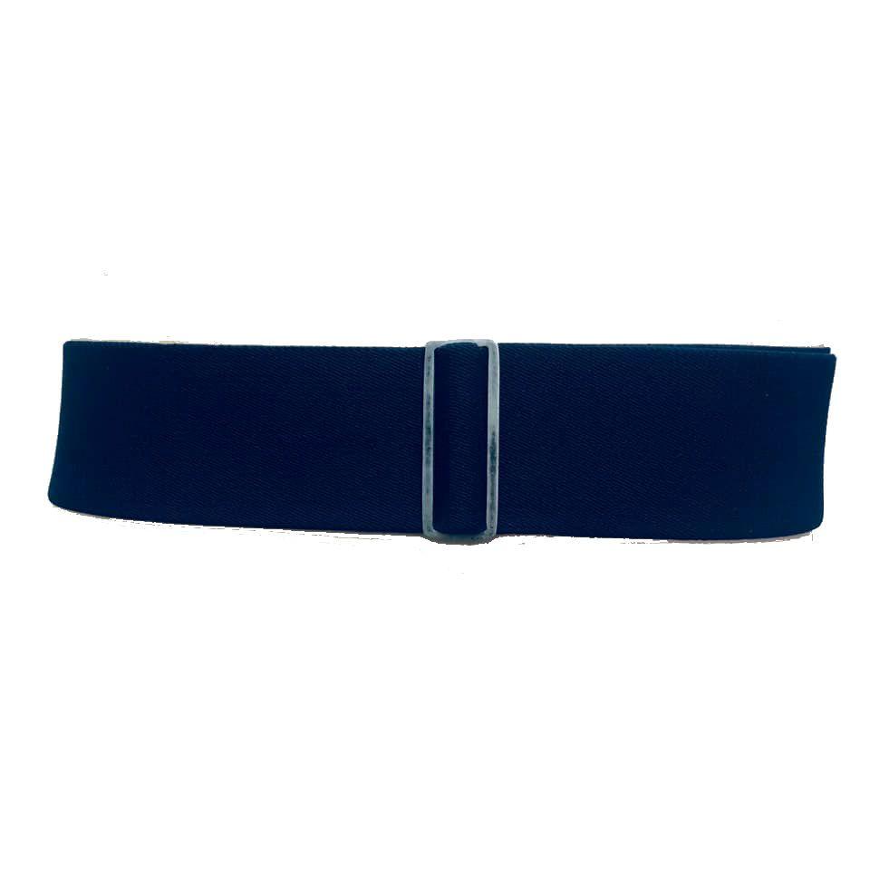 Cinto de Elástico Ajustável Azul Marinho com Regulagem e Fivela  Prata Velha com aplicação de Couro - Cintos Exclusivos - Feminino
