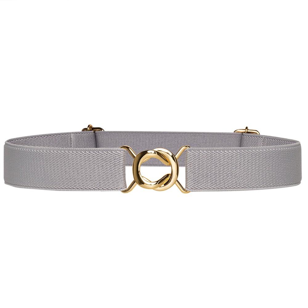 Cinto de Elástico Cinza Ajustável  Fino com Regulagem e Fivela Dourada - Cintos Exclusivos - Feminino