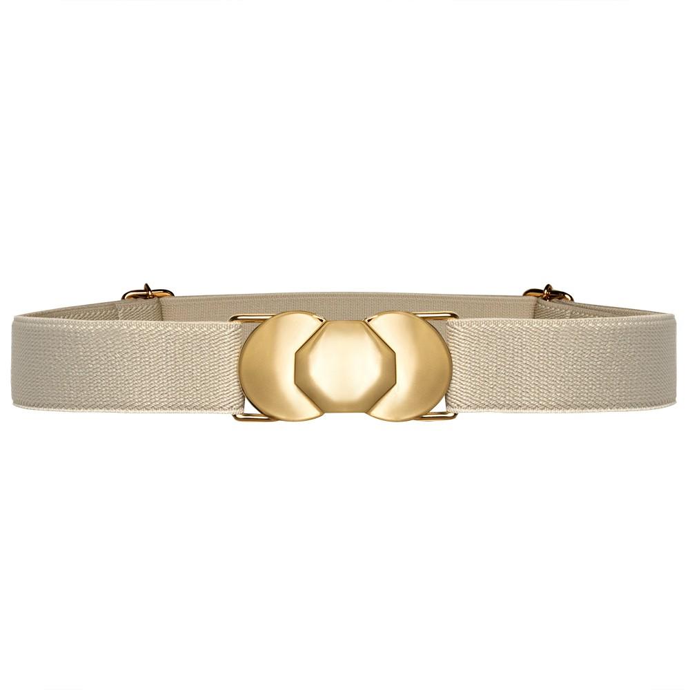 Cinto de Elástico Off White Ajustável  Fino com Regulagem e Fivela Dourada - Cintos Exclusivos - Feminino