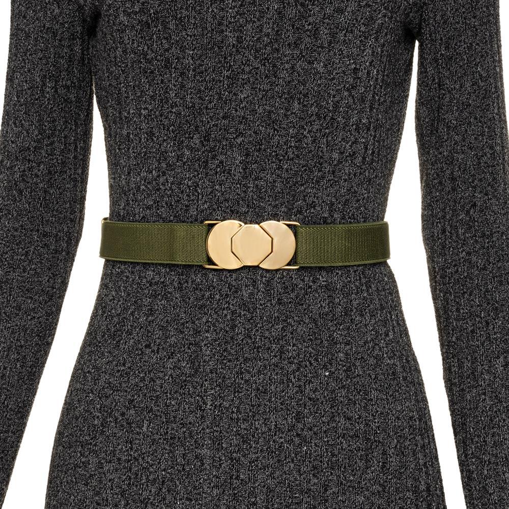 Cinto de Elástico Verde Ajustável  Fino com Regulagem e Fivela Dourada - Cintos Exclusivos - Feminino