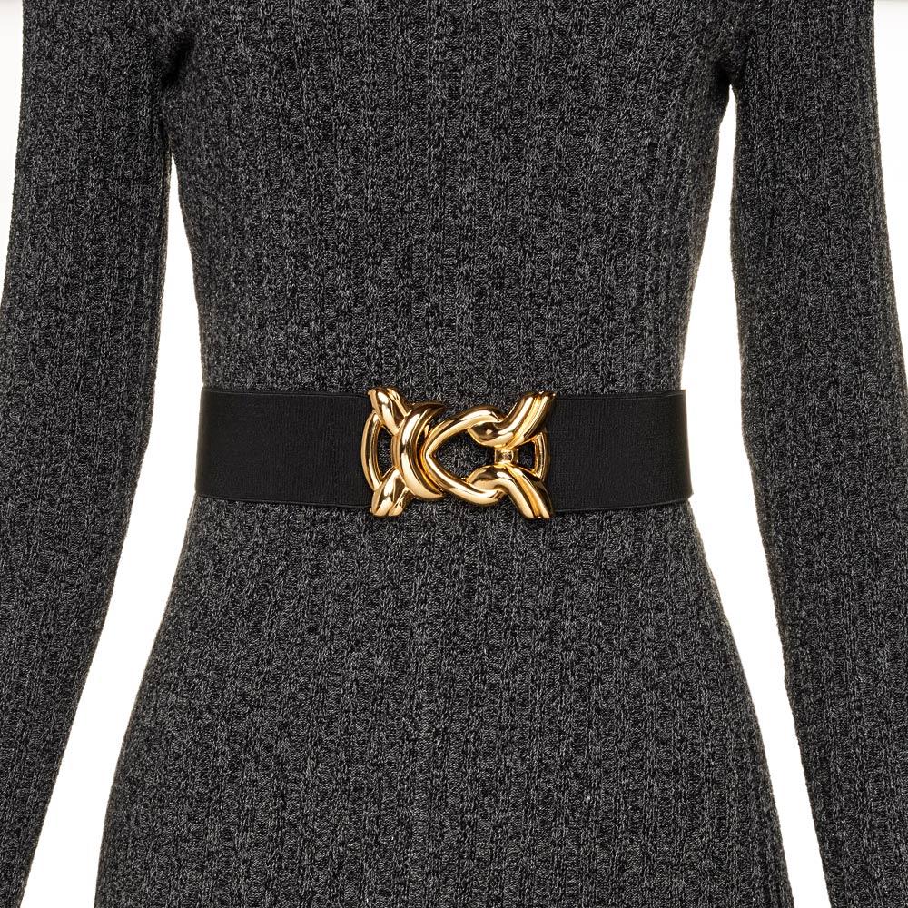 Cinto de Elástico Ajustável Preto com Regulagem e Fivela Nó Dourada - Cintos Exclusivos - Feminino