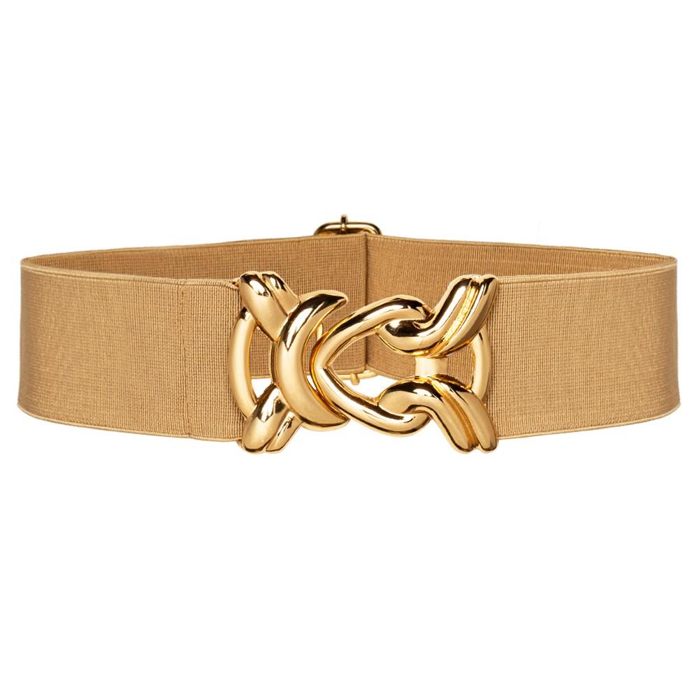 Cinto de Elástico Ajustável  com Regulagem e Fivela Nó Dourada - Cintos Exclusivos - Feminino
