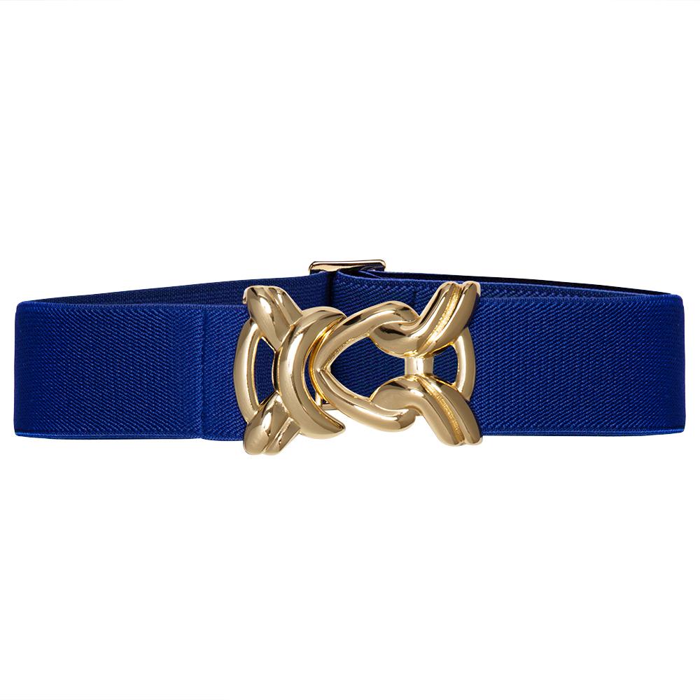 Cinto de Elástico Ajustável Azul Royal  com Regulagem e Fivela Nó Dourada - Cintos Exclusivos - Feminino