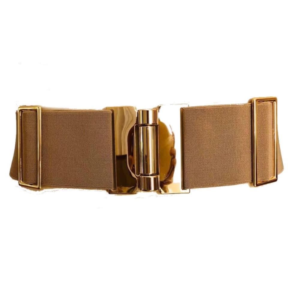 Cinto de Elástico Ajustável com Regulagem e Fivela Ouro  - Cintos Exclusivos - Feminino