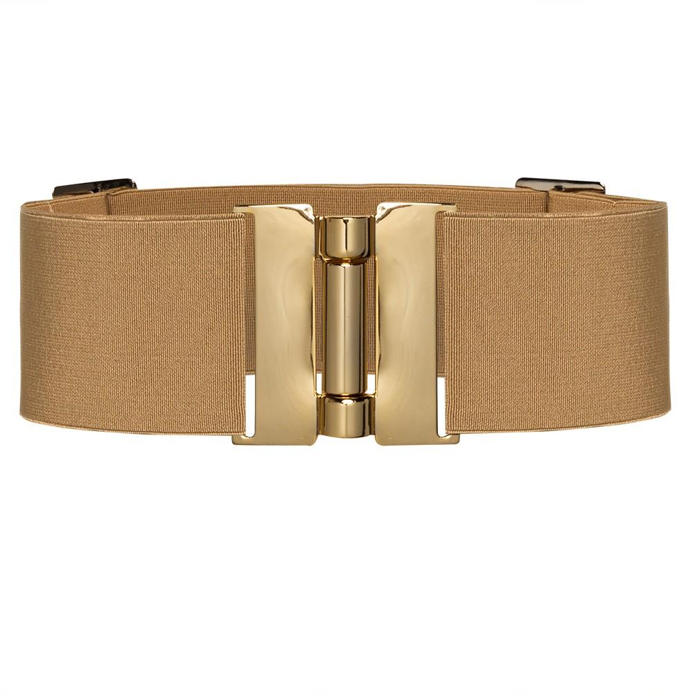 Cinto Largo de Elástico Bege Ajustável com Regulagem e Fivela Ouro  - Cintos Exclusivos - Feminino