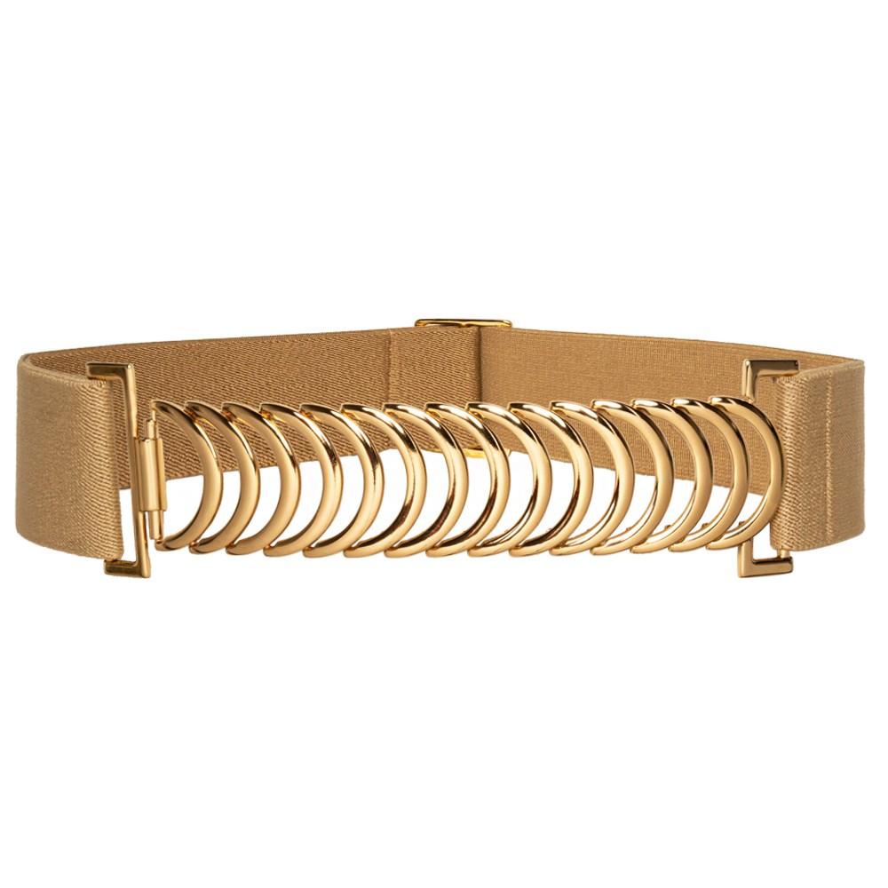 Cinto de Elástico Bege  Ajustável com Regulagem e Fivela Ouro - Cintos Exclusivos - Feminino