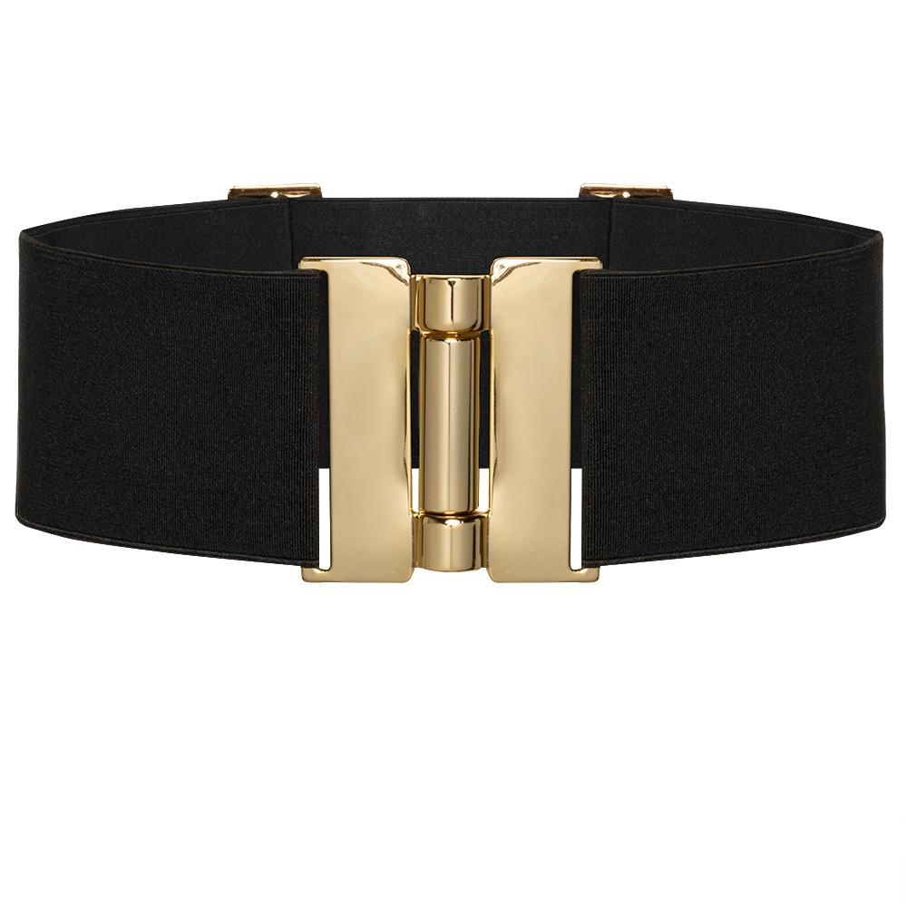 Cinto Largo de Elástico Ajustável com Regulagem e Fivela Ouro  - Cintos Exclusivos - Feminino