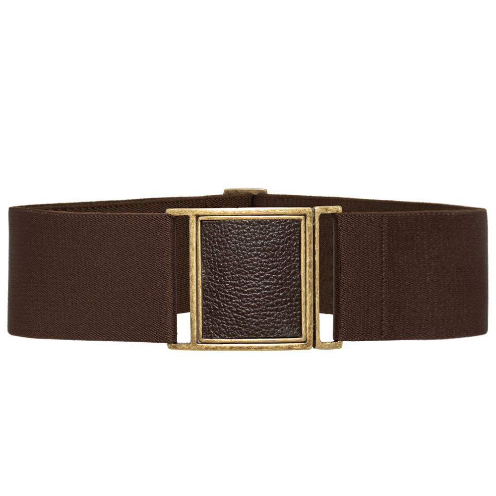Cinto de Elástico Marrom Ajustável com Regulagem e Fivela  Ouro Velho com aplicação de Couro - Cintos Exclusivos - Feminino