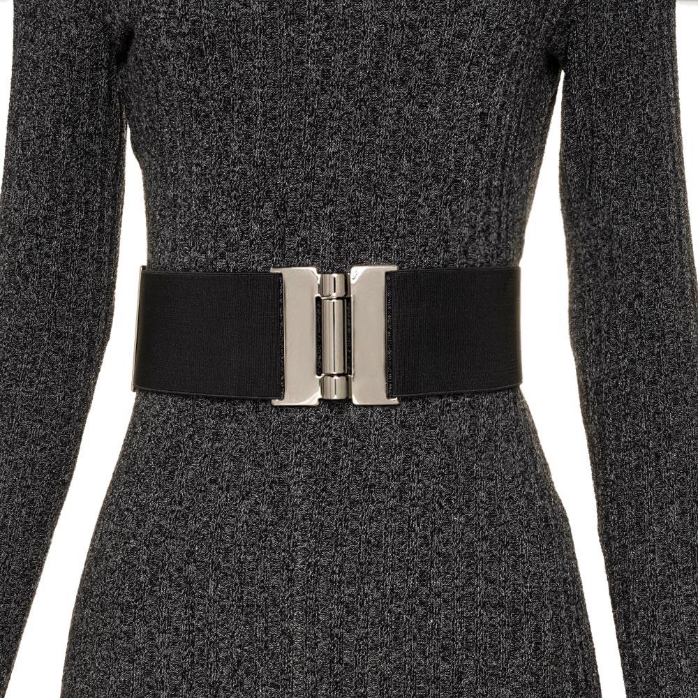 Cinto de Elástico Ajustável com Regulagem e Fivela Prata  - Cintos Exclusivos - Feminino