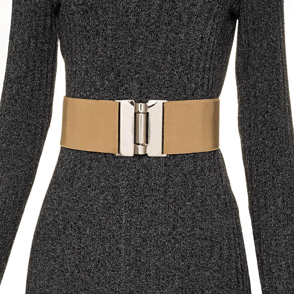 Cinto  Largo de Elástico Ajustável com Regulagem e Fivela Prata  - Cintos Exclusivos - Feminino