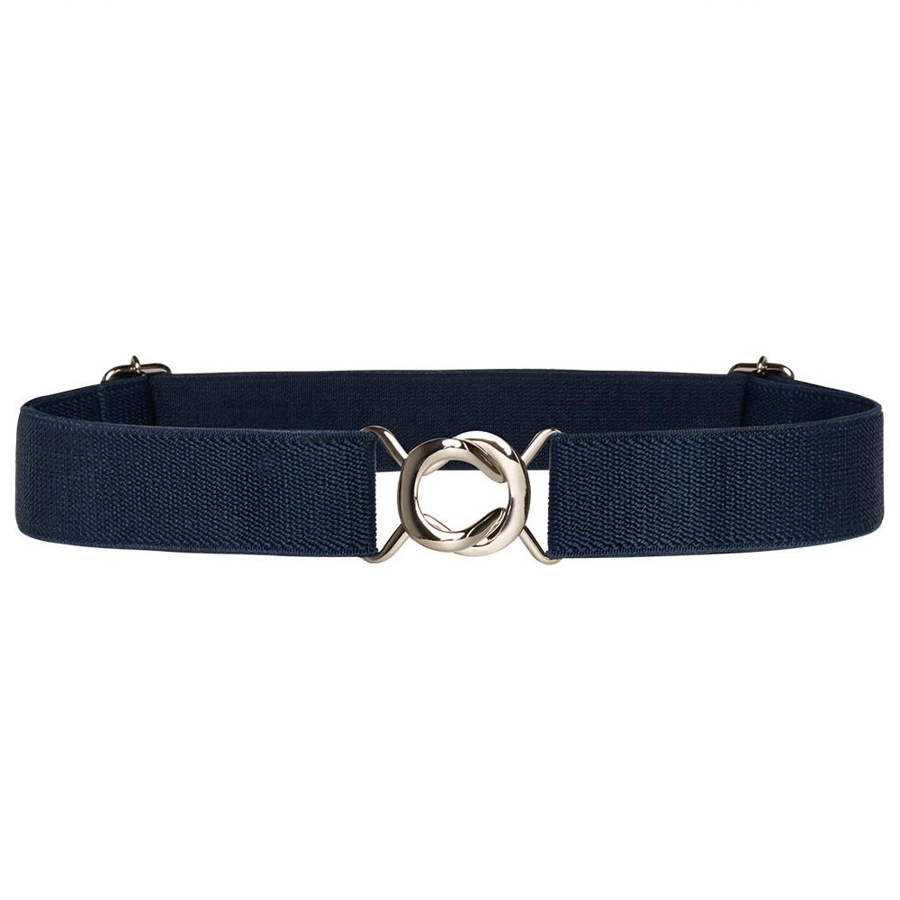 Cinto de Elástico Azul Marinho  Ajustável  Fino com Regulagem e Fivela Prata - Cintos Exclusivos - Feminino