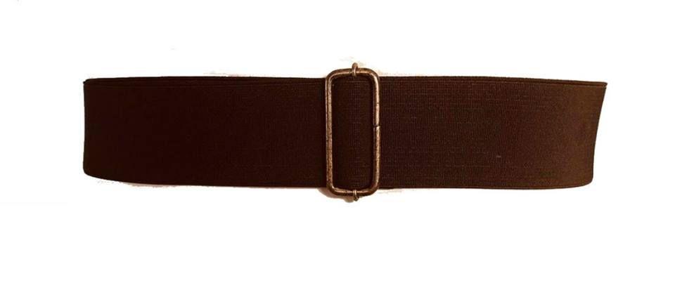 Cinto de Elástico Ajustável Marrom com Regulagem e Fivela  Ouro Velho  - Cintos Exclusivos - Feminino