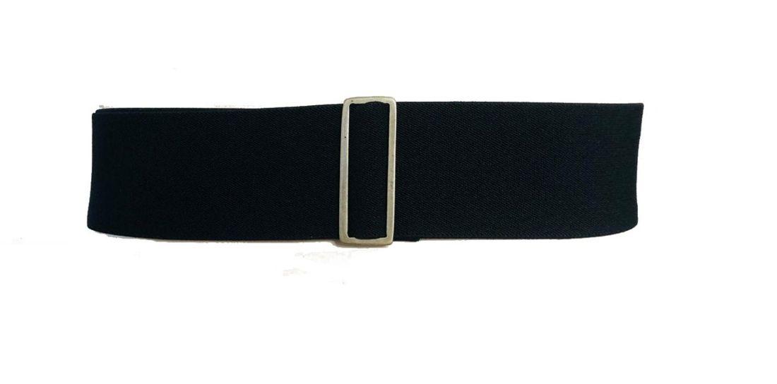 Cinto de Elástico Preto Ajustável com Regulagem e Fivela  Ouro Velho com aplicação de Couro - Cintos Exclusivos - Feminino