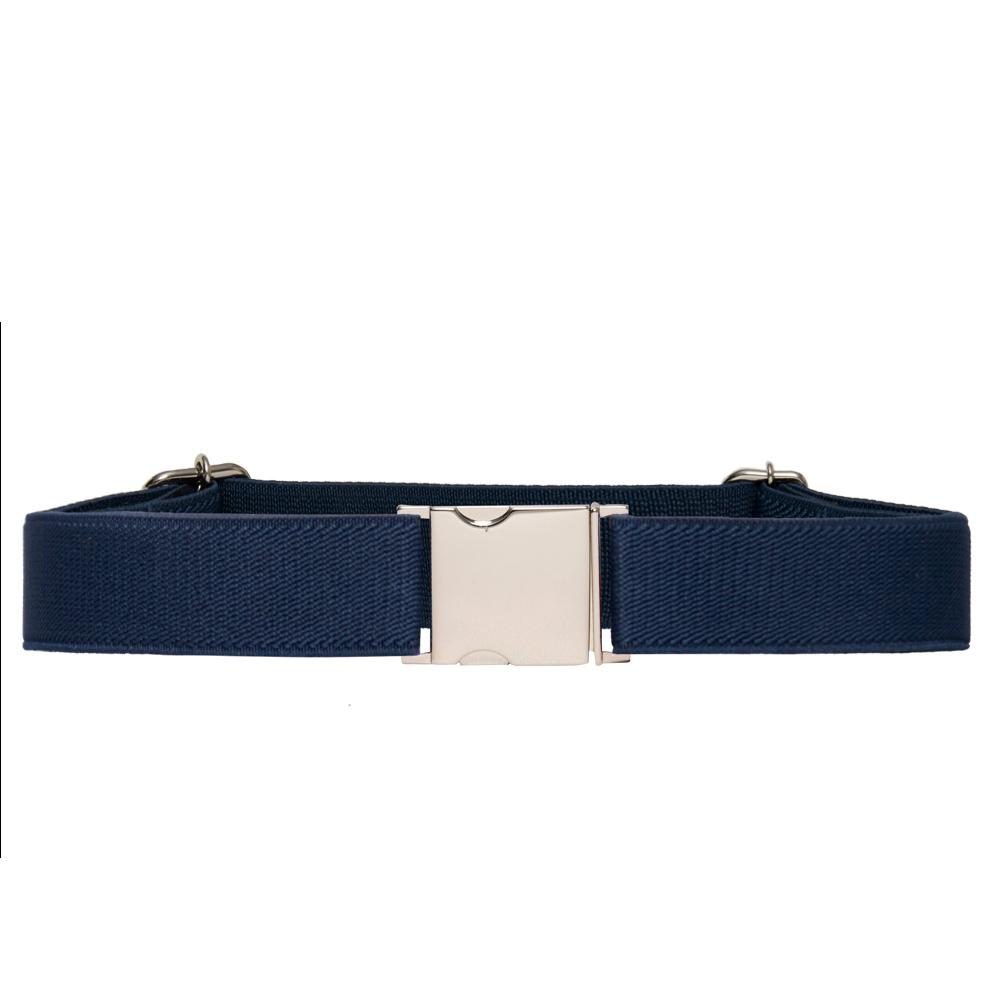 Cinto de Elástico Ajustável Fino Azul Marinho com Regulagem e Fivela Prata  - Cintos Exclusivos - Feminino