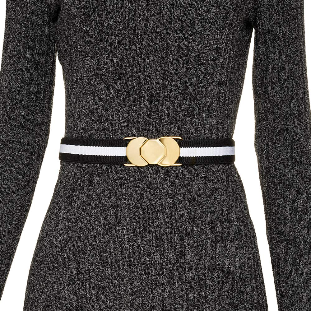 Cinto de Elástico Ajustável  Fino com Regulagem e Fivela Dourada - Cintos Exclusivos - Feminino
