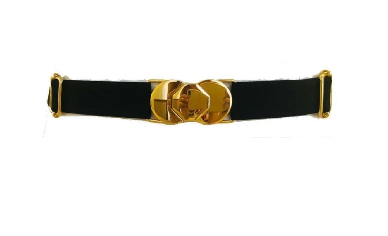 Cinto de Elástico Ajustável  Fino com Regulagem e Fivela  Ouro  - Cintos Exclusivos - Feminino