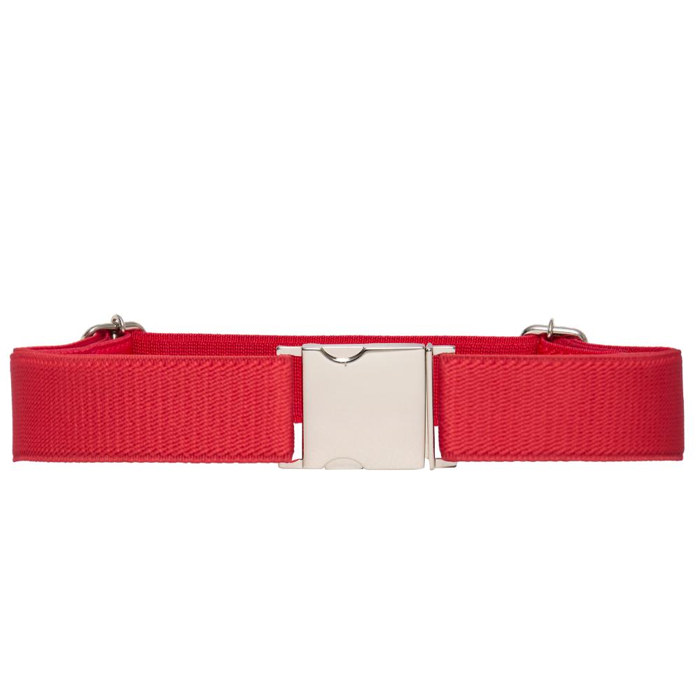 Cinto de Elástico Ajustável  Fino Vermelho  com Regulagem e Fivela Prata  - Cintos Exclusivos - Feminino