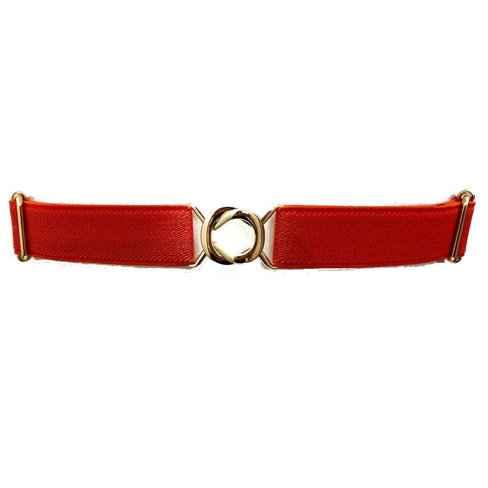 Cinto de Elástico Ajustável Laranja com Regulagem e Fivela Dourada - Cintos Exclusivos - Feminino