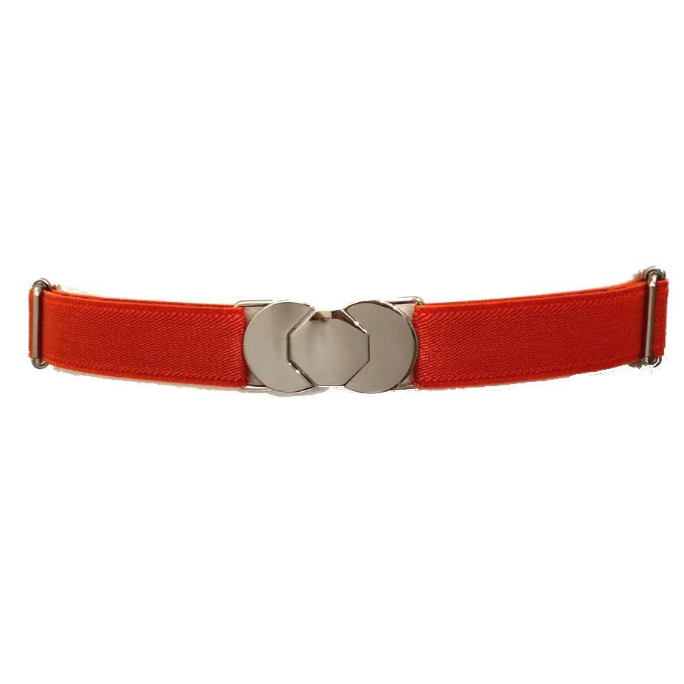 Cinto de Elástico Ajustável Laranja com Regulagem e Fivela  Prata - Cintos Exclusivos - Feminino