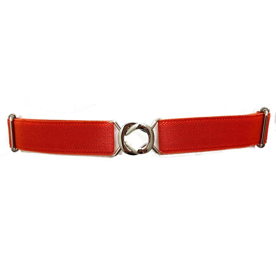 Cinto de Elástico Ajustável Fino Laranja com Regulagem e Fivela  Prata - Cintos Exclusivos - Feminino