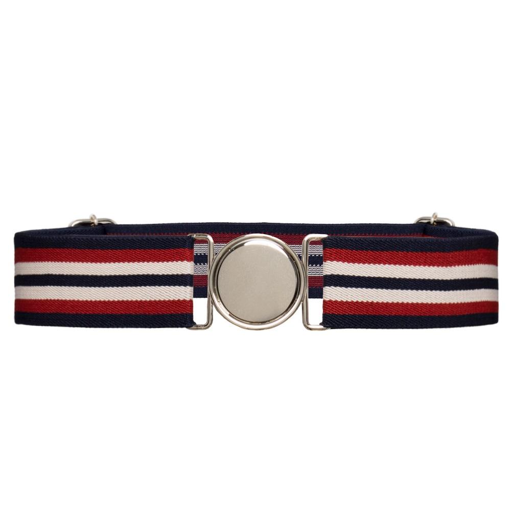 Cinto de Elástico Ajustável Listra Azul e Vermelho com Regulagem e Fivela Prata   - Cintos Exclusivos - Feminino