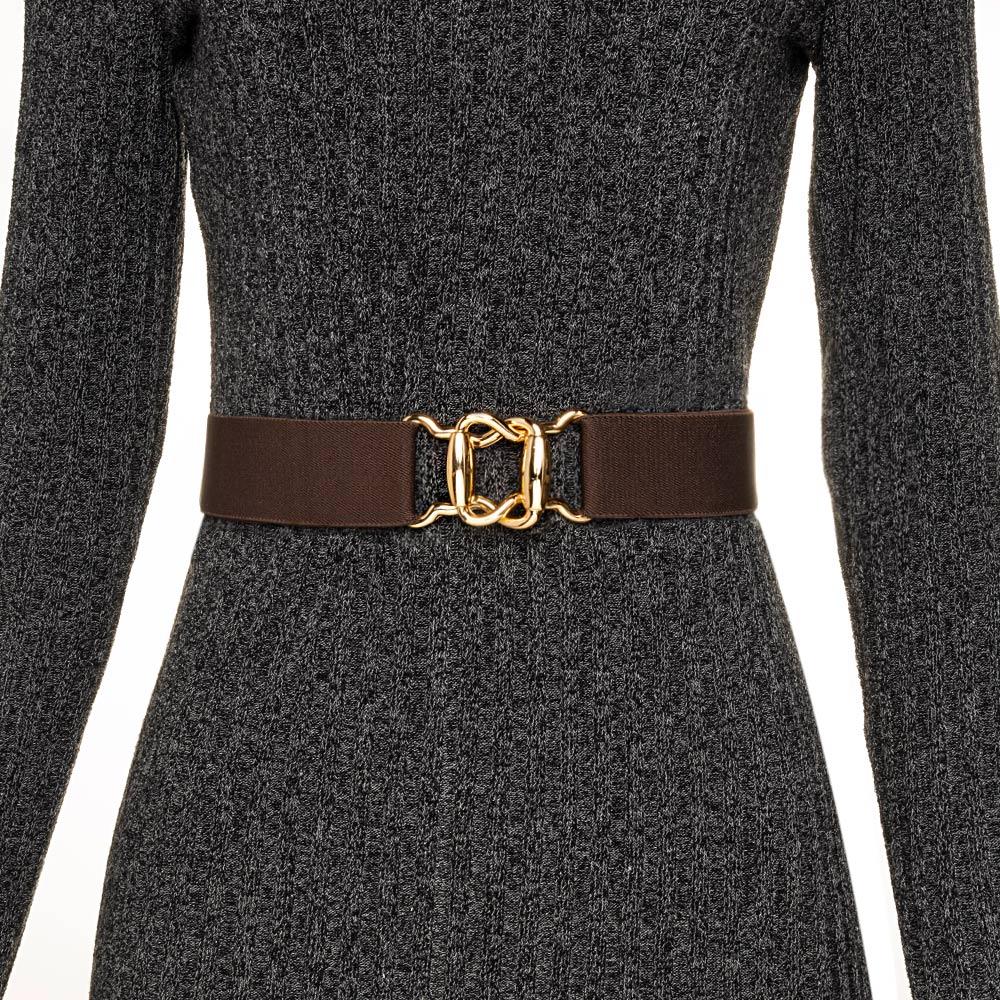 Cinto de Elástico Ajustável Marrom  com Regulagem e Fivela Dourada - Cintos Exclusivos - Feminino