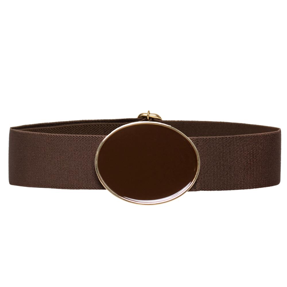 Cinto de Elástico Ajustável Marrom com Regulagem e Fivela  Ouro  - Cintos Exclusivos - Feminino