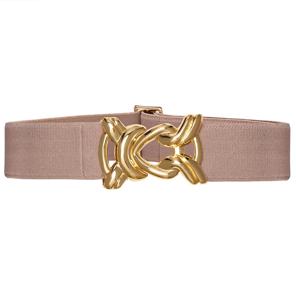 Cinto de Elástico Ajustável Nude  com Regulagem e Fivela Nó Dourada - Cintos Exclusivos - Feminino