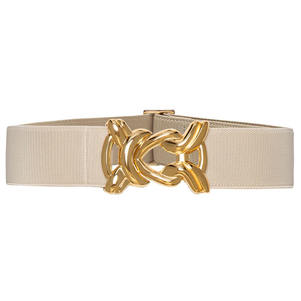 Cinto de Elástico Ajustável Off White com Regulagem e Fivela Nó Dourada - Cintos Exclusivos - Feminino