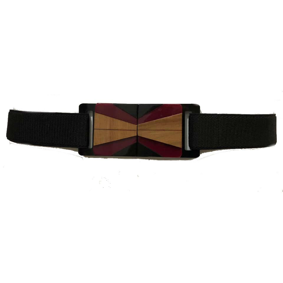Cinto de Elástico Ajustável Preto com Regulagem e Fivela de Acrílico com madeira  Étnico - Cintos Exclusivos - Feminino