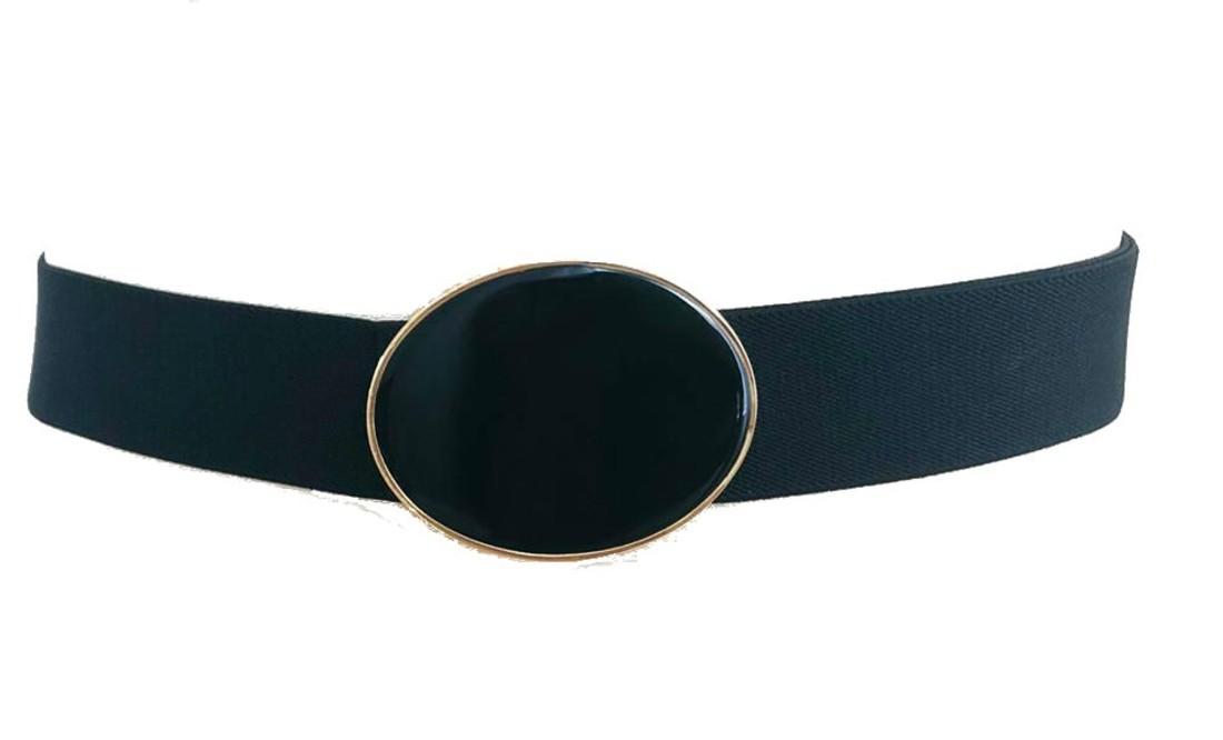 Cinto de Elástico Ajustável Preto com Regulagem e Fivela  Ouro  - Cintos Exclusivos - Feminino