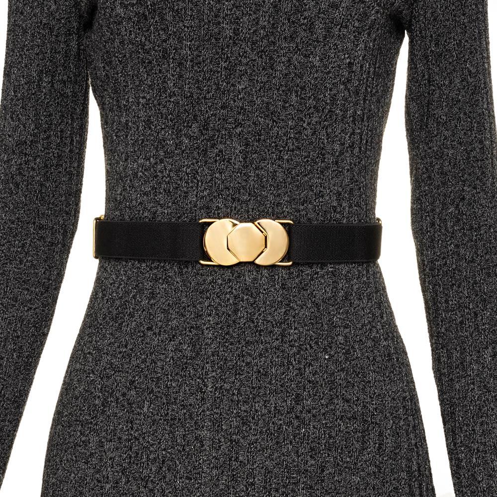 Cinto de Elástico Preto Ajustável  Fino Preto com Regulagem e Fivela  Ouro - Cintos Exclusivos - Feminino