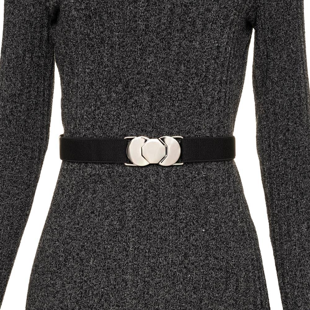 Cinto de Elástico Ajustável  Fino Preto com Regulagem e Fivela Prata - Cintos Exclusivos - Feminino