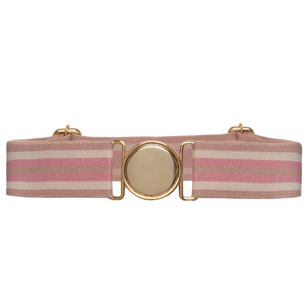 Cinto de Elástico Ajustável Listra Rosa  com Regulagem e Fivela Dourada   - Cintos Exclusivos - Feminino