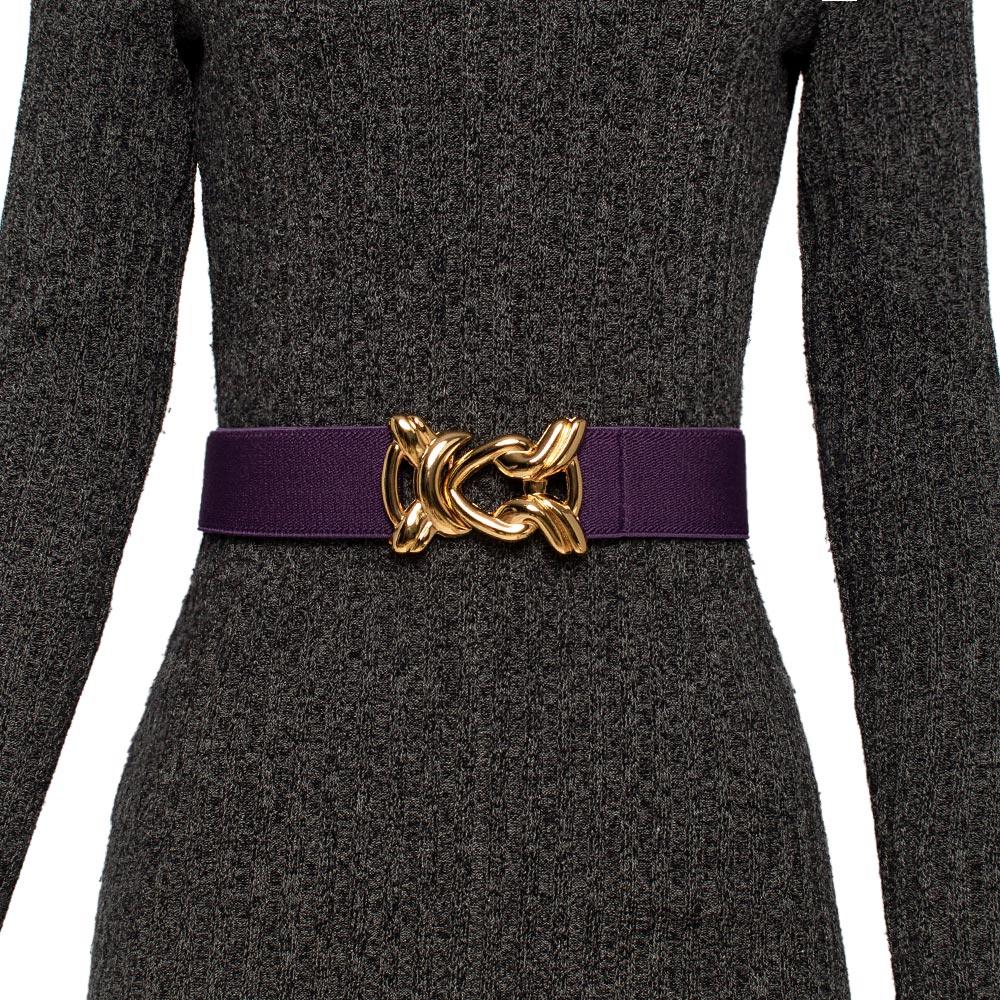 Cinto de Elástico Ajustável Roxo com Regulagem e Fivela Nó Dourada - Cintos Exclusivos - Feminino