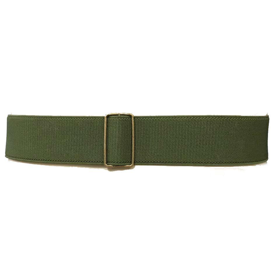 Cinto de Elástico Ajustável Verde com Regulagem e Fivela de Acrílico Étnico - Cintos Exclusivos - Feminino