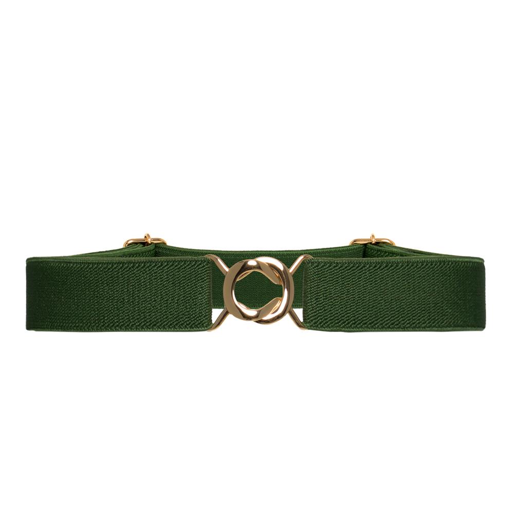 Cinto de Elástico Ajustável Verde  com Regulagem e Fivela  Ouro - Cintos Exclusivos - Feminino
