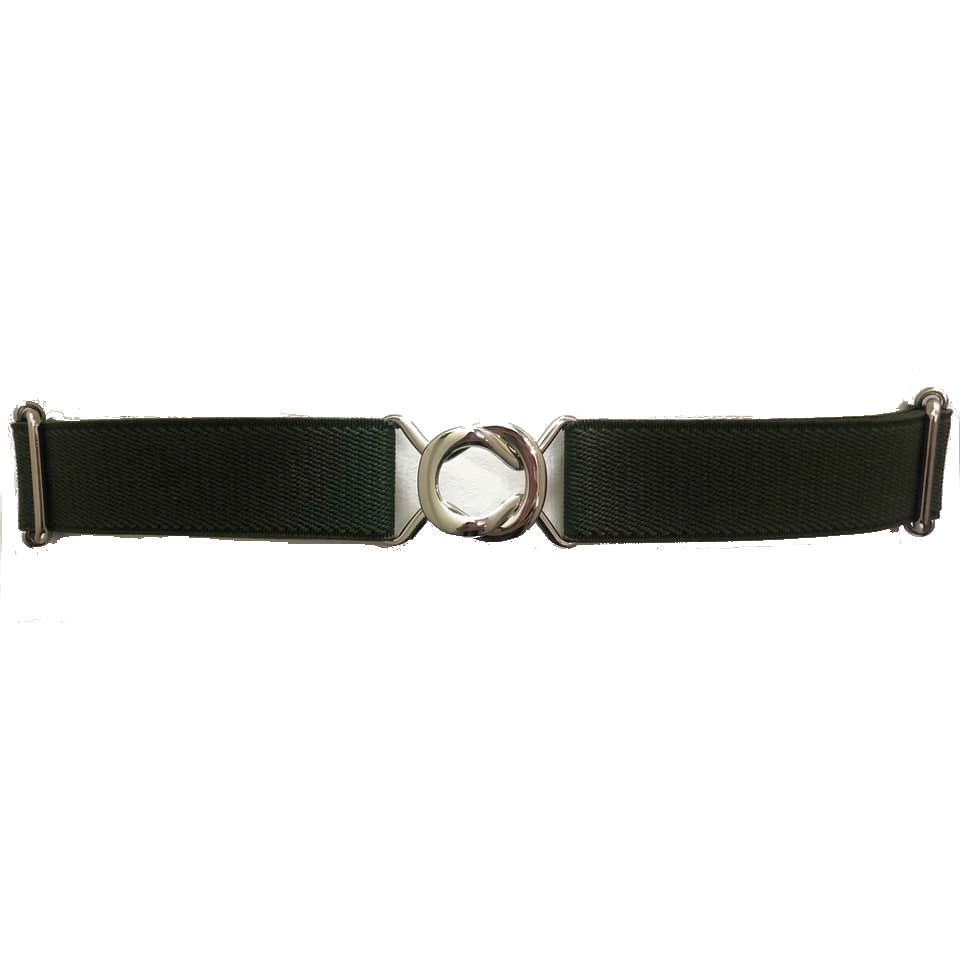 Cinto de Elástico Ajustável  Fino Verde  com Regulagem e Fivela Prata - Cintos Exclusivos - Feminino