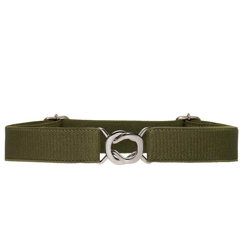 Cinto de Elástico Fino Ajustável Verde com Regulagem e Fivela  Prata - Cintos Exclusivos - Feminino