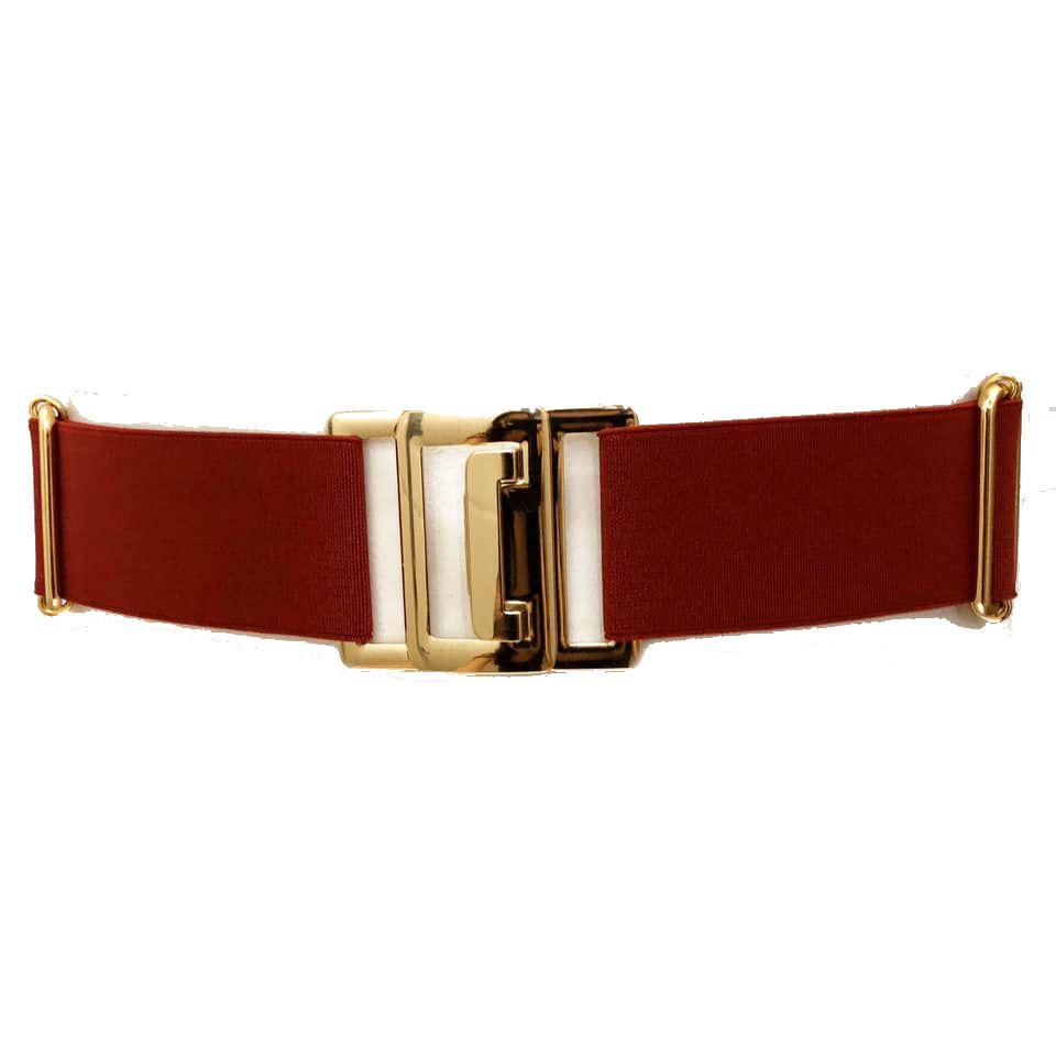 Cinto de Elástico Ajustável Vermelho com Regulagem e Fivela Dourada - Cintos Exclusivos - Feminino