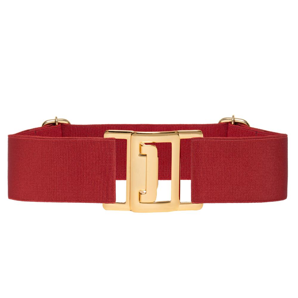 Cinto de Elástico Ajustável Vermelho com Regulagem e Fivela Dourada - Cintos Exclusivos VC- Feminino