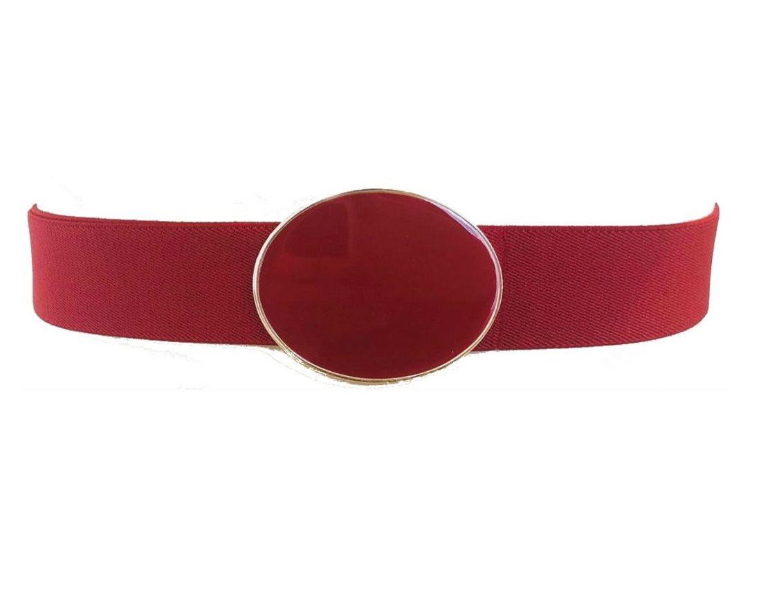 Cinto de Elástico Ajustável Vermelho com Regulagem e Fivela  Ouro  - Cintos Exclusivos - Feminino
