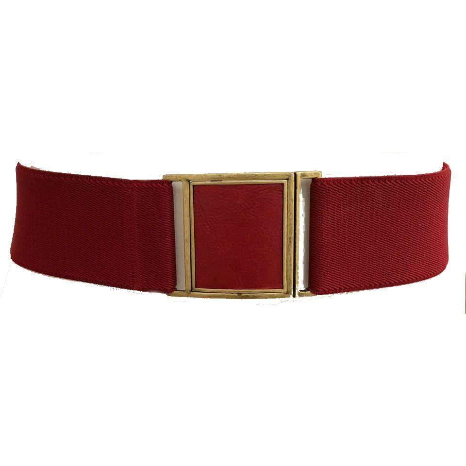 Cinto de Elástico Ajustável Vermelho  com Regulagem e Fivela  Ouro Velho com aplicação de Couro - Cintos Exclusivos - Feminino