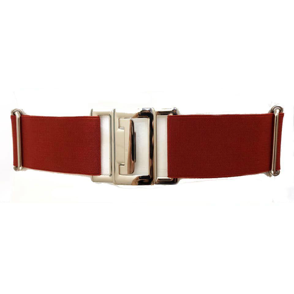 Cinto de Elástico Ajustável Vermelho com Regulagem e Fivela Prata - Cintos Exclusivos - Feminino