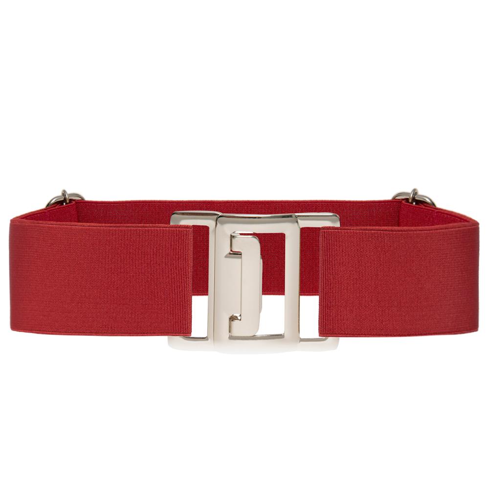Cinto de Elástico Ajustável Vermelho com Regulagem e Fivela Prata - Cintos Exclusivos VC - Feminino